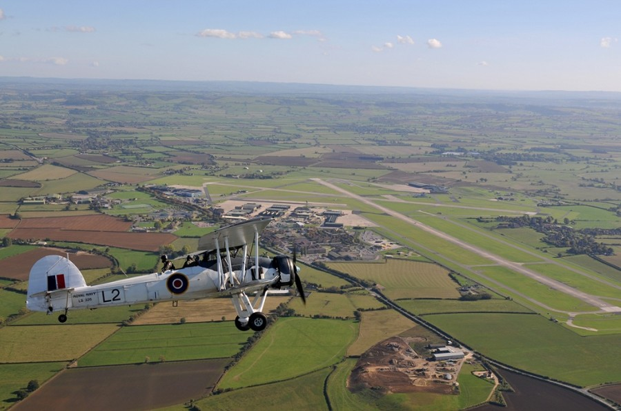 -RNHF Swordfish flying over RNAS Yeovilton (Credit - Luigino Caliaro)
