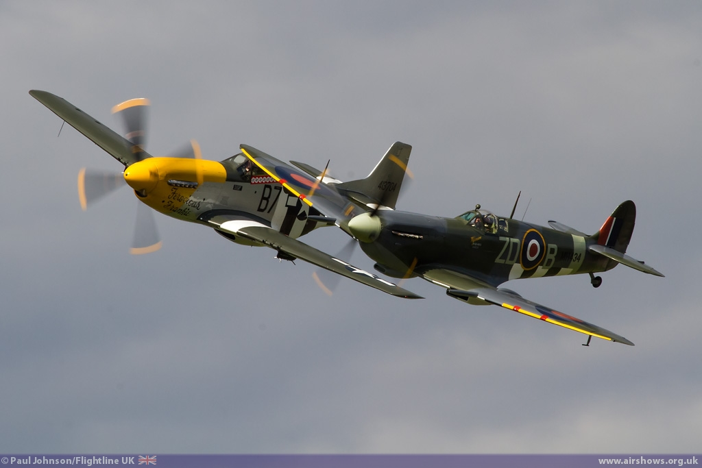 "AIRSHOW NEWS: OFMC Spitfire IX MH434 and P-51D Mustang ""Ferocious Frankie"" perform at the Old Buckenham Airshow"
