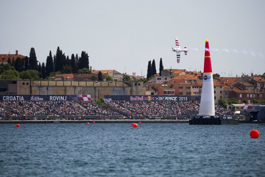 Paul Bonhomme of Great Britain performs during the finals of the third stage of the Red Bull Air Race World Championship in Rovinj, Croatia on May 31, 2015. // Predrag Vuckovic/Red Bull Content Pool // P-20150531-25972 // Usage for editorial use only // Please go to www.redbullcontentpool.com for further information. //