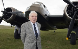Squadron Leader Ian Blair (RAF retired) in front of the Bristol Blenheim.